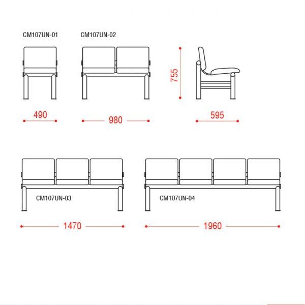 Многоместное кресло Карнак Размеры