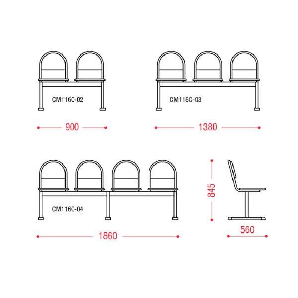 Многоместное кресло Квинт размеры