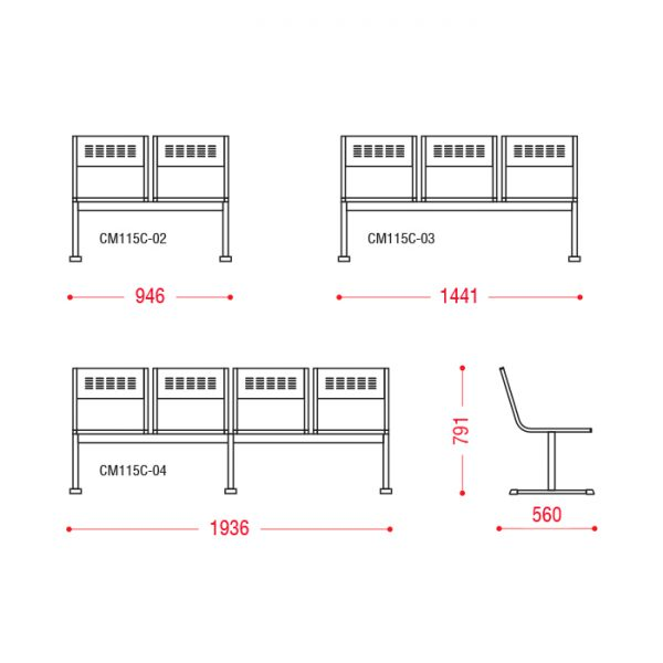 Многоместное кресло М-Стайл размеры