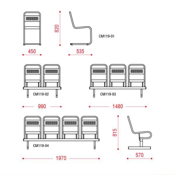 Многоместное кресло Раунд размеры