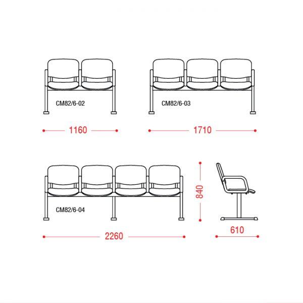 Многоместное кресло Тракт размеры
