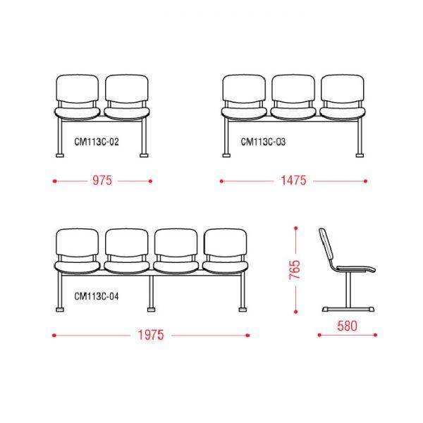 Многоместное кресло Трим размеры