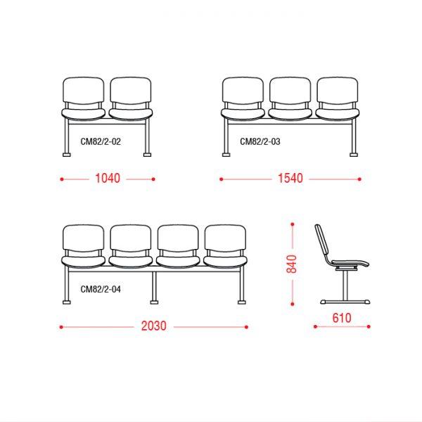 Многоместное кресло Трио размеры