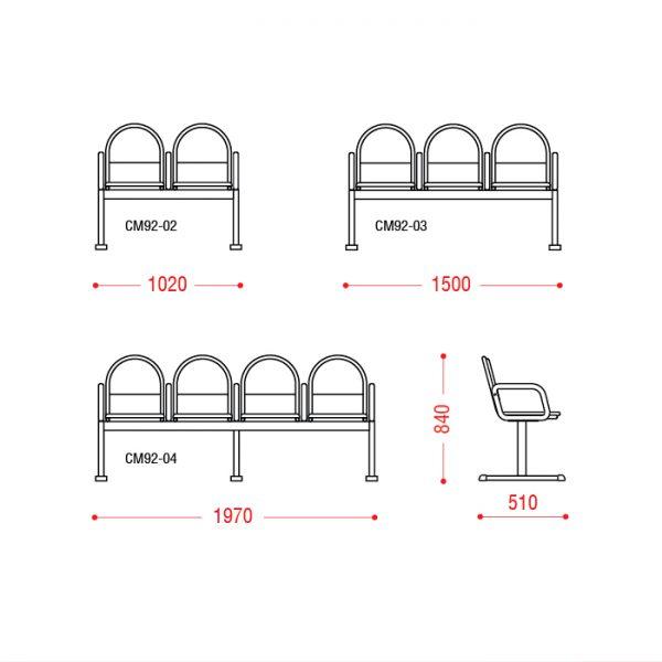 Многоместное кресло Тристан Размеры