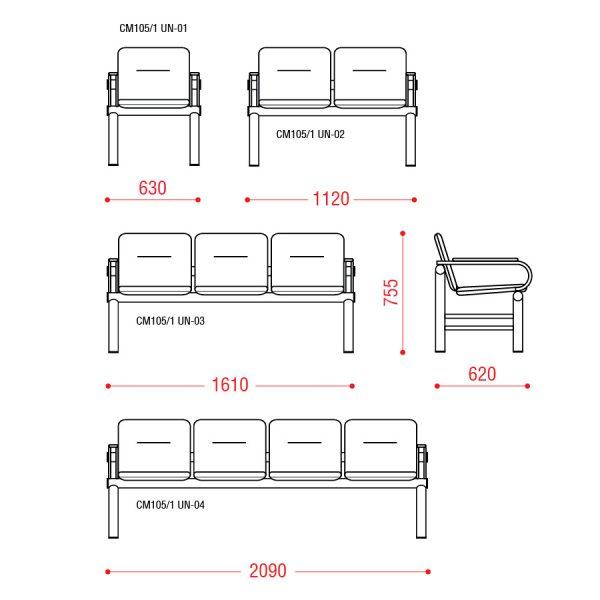 Многоместное кресло Троя 2П Размеры