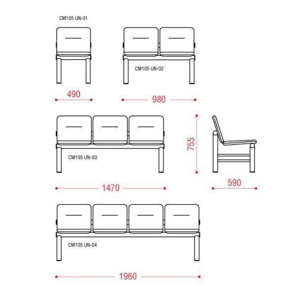 Многоместное кресло Троя Размеры