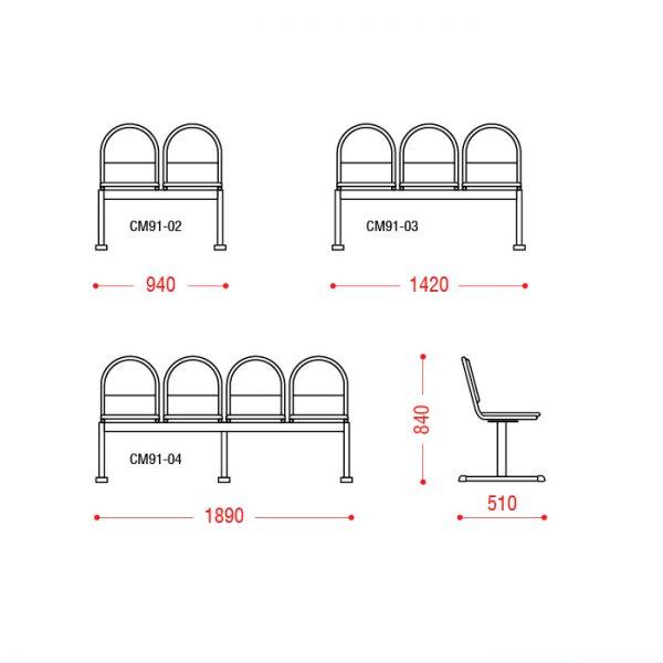 Многоместное кресло Тройка размеры